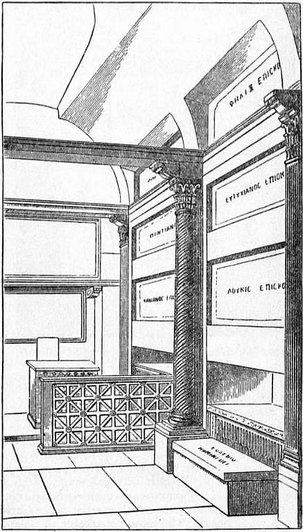 EB1911 Catacomb - Fig. 10—Restoration of the Papal Crypt, Cemetery of St Calixtus.jpg