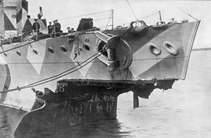 HMS Fearless after its collision.