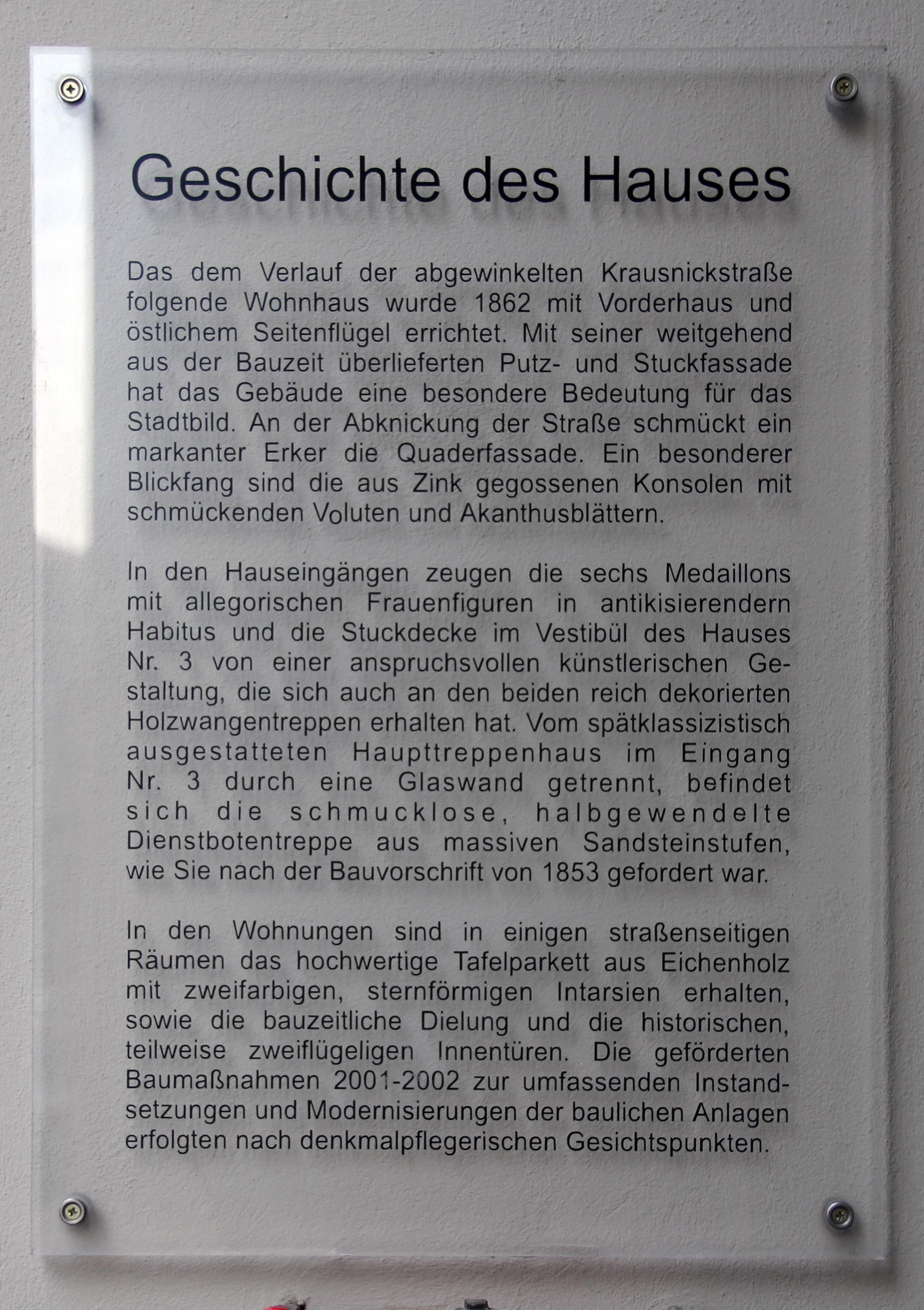 fb1a106ad29a81 File Gedenktafel Krausnickstr 3 (Mitte) Geschichte des Hauses.jpg ...