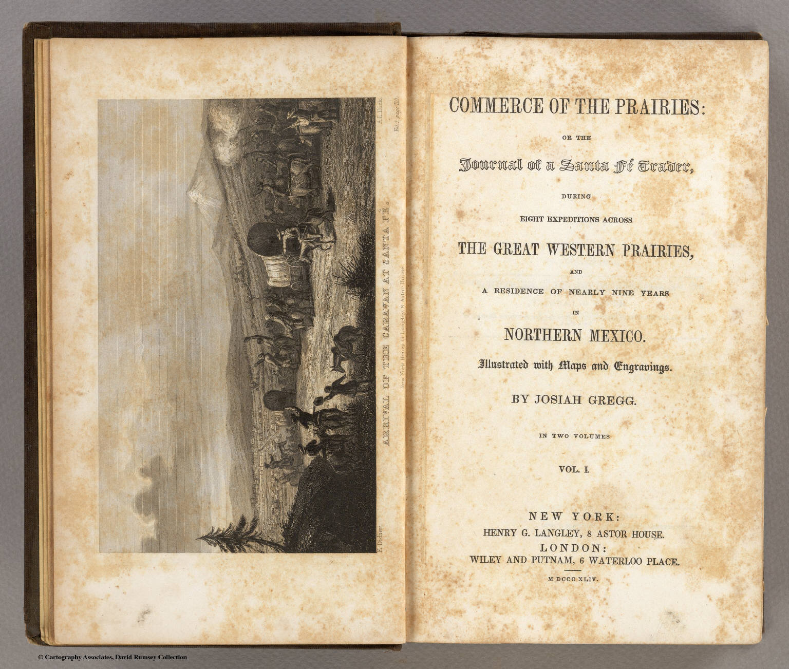 The frontispiece and title page of ''Commerce of the Prairies''