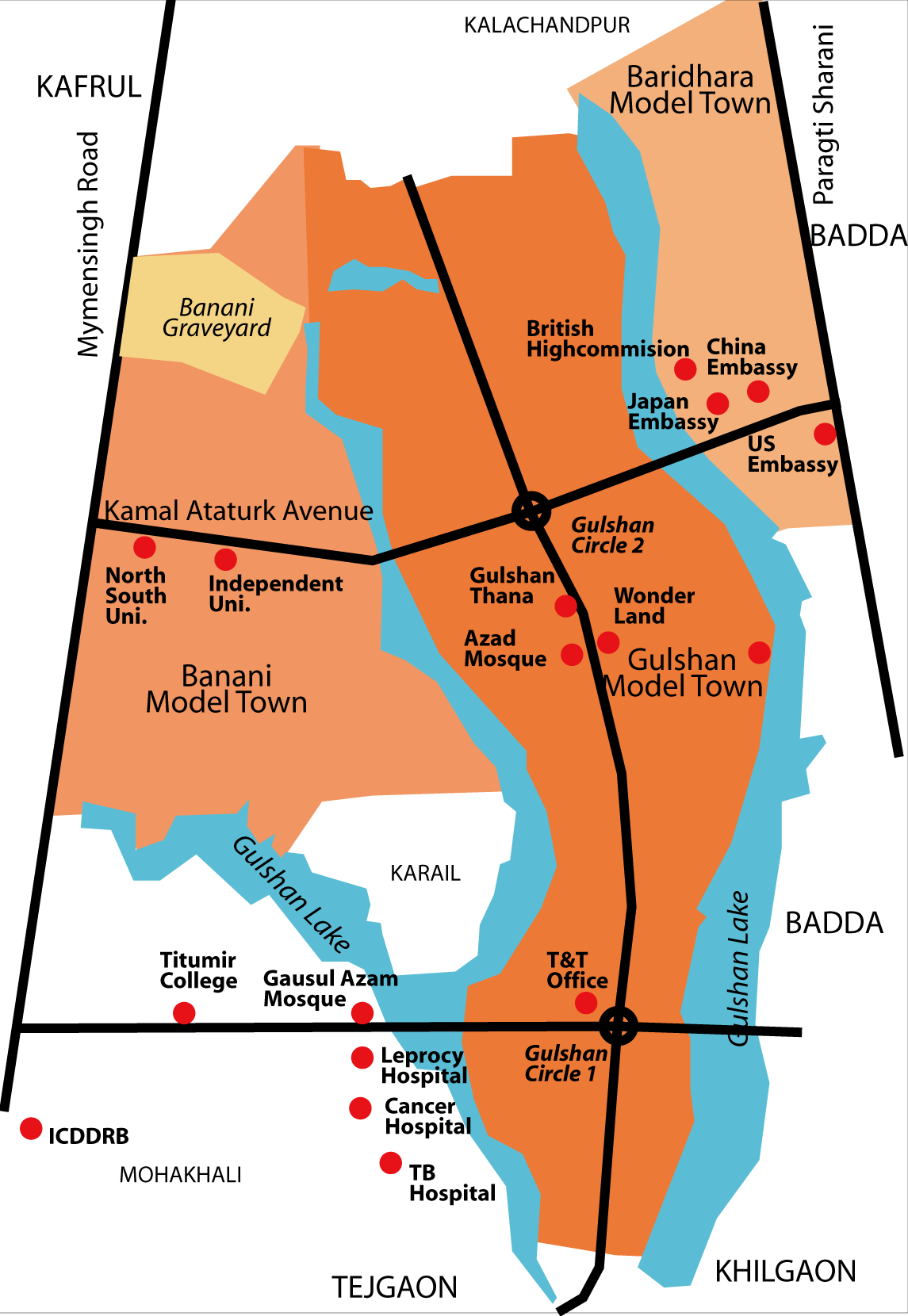 Gulshan Thana Wikipedia - Map of united hospital dhaka