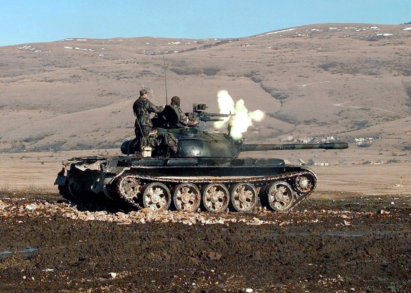 HVO Army T-55 Glamoc firing MG