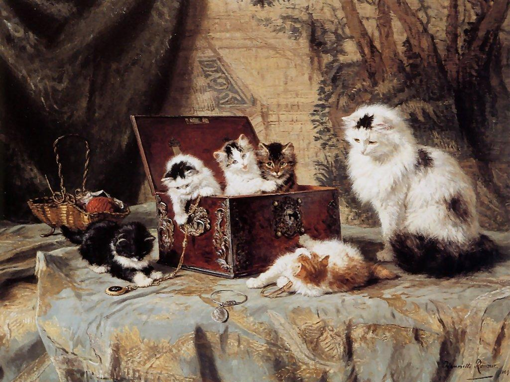 Henriette Ronner Knip A Cat With Her Three Kittens