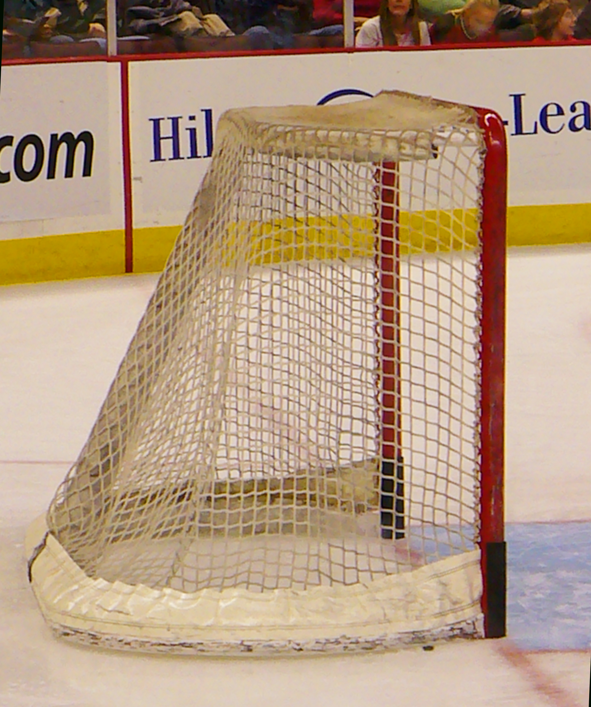 Hockey net on ice