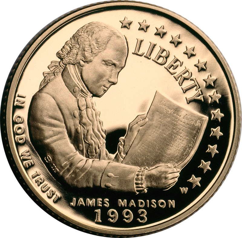 James Madison Bill of Rights $5 commemorative gold coin