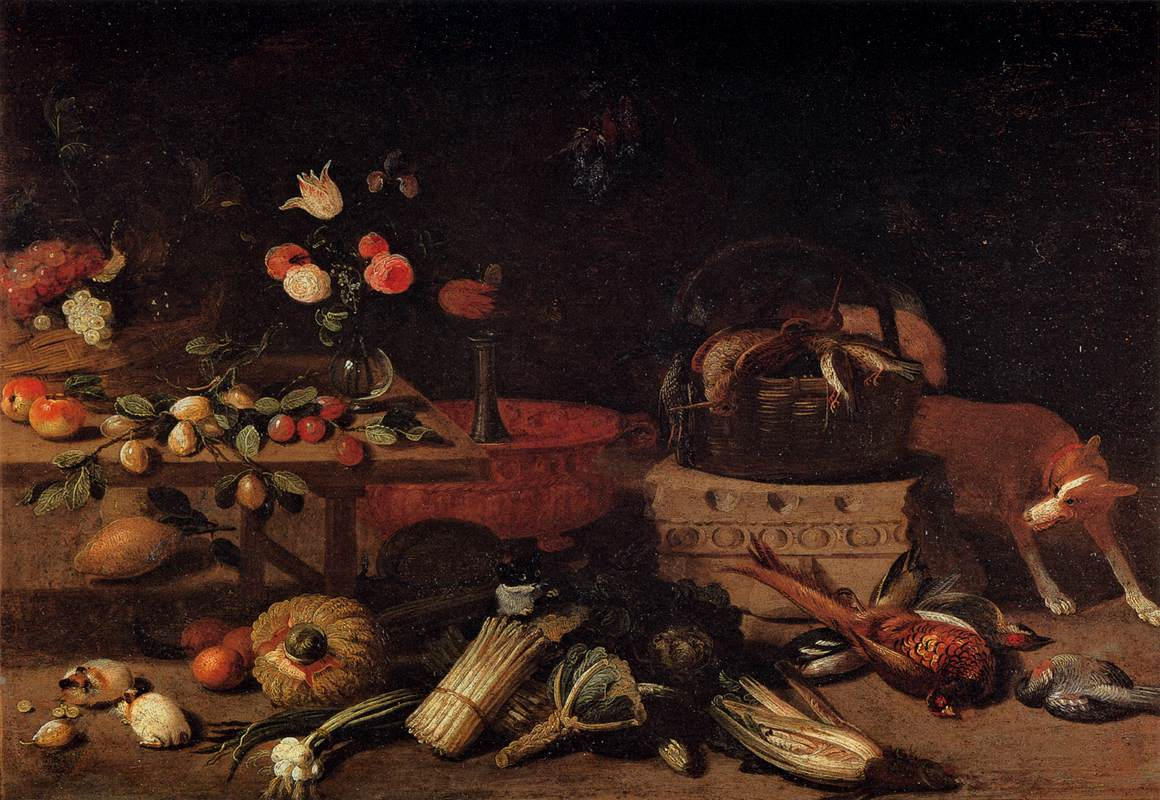 file jan van kessel i interior of a kitchen with a dog