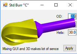 Burr in KernelCAD control with transparent background