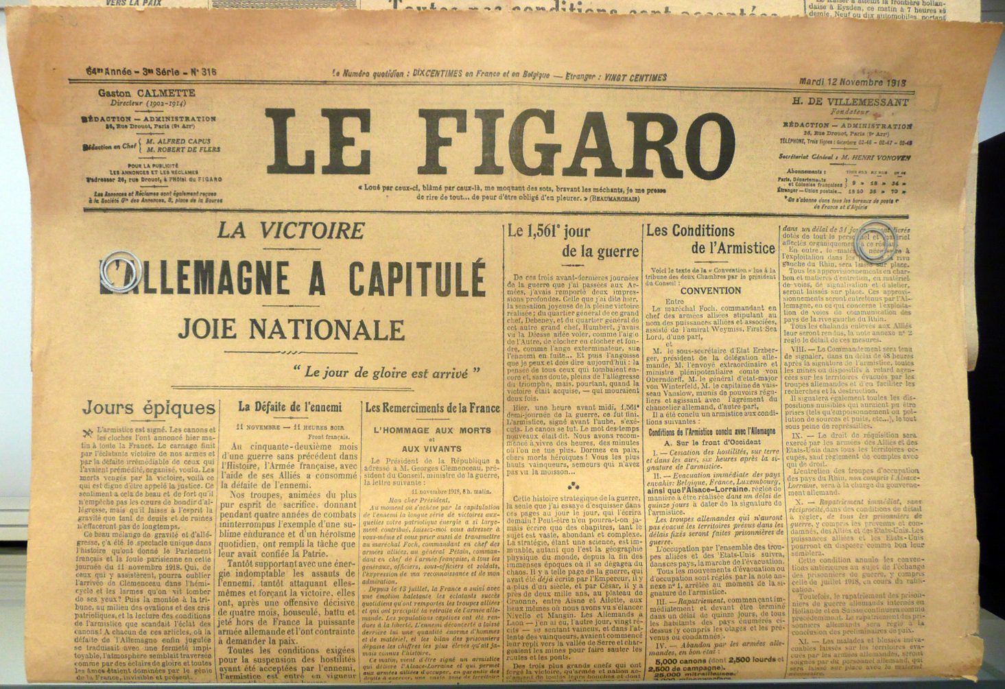 File:le figaro du 12 novembre 1918 annoncé la capitulation de l
