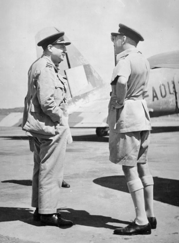 The new Air Officer Commanding No. 222 Group, Air Vice Marshal Lees (left), is greeted upon arrival at Ratmalana, Ceylon, by his predecessor Air Vice Marshal [[John D'Albiac]], 1942.