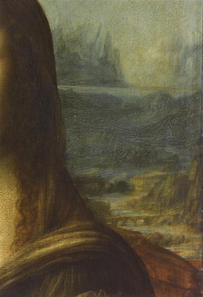 Leonardo di ser Piero da Vinci - Portrait de Mona Lisa (dite La Joconde) - Louvre 779 - Detail (right landscape).jpg