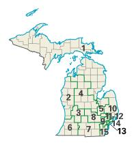Michigan districts in these elections