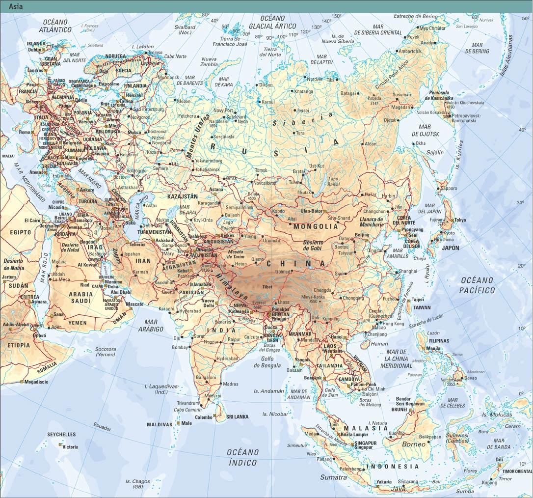 Mapa De Montaas De Asia