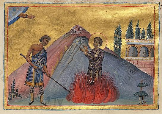Niketas' martyrium, fra keiser Basilios IIs (976-1025) Menologium fra slutten av 900-tallet