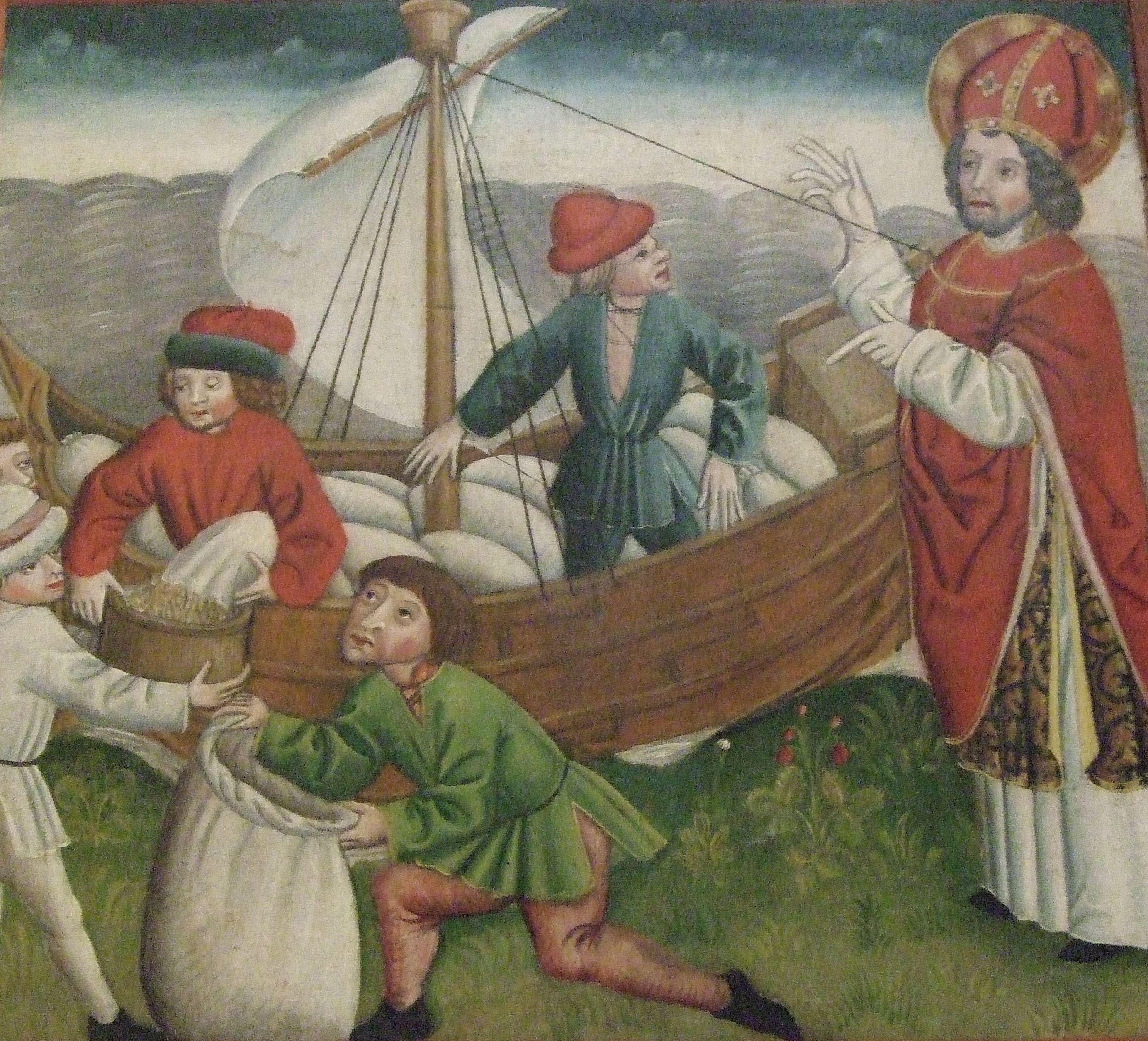Das Kornwunder, das den hl. Nikolaus zum Schutzpatron der Ernte machte. Teil eines Flügelaltars, um 1475 (St. Mariae, Mühlhausen, Thüringen. Quelle: Wikicommons, User: Friedrichsen.)