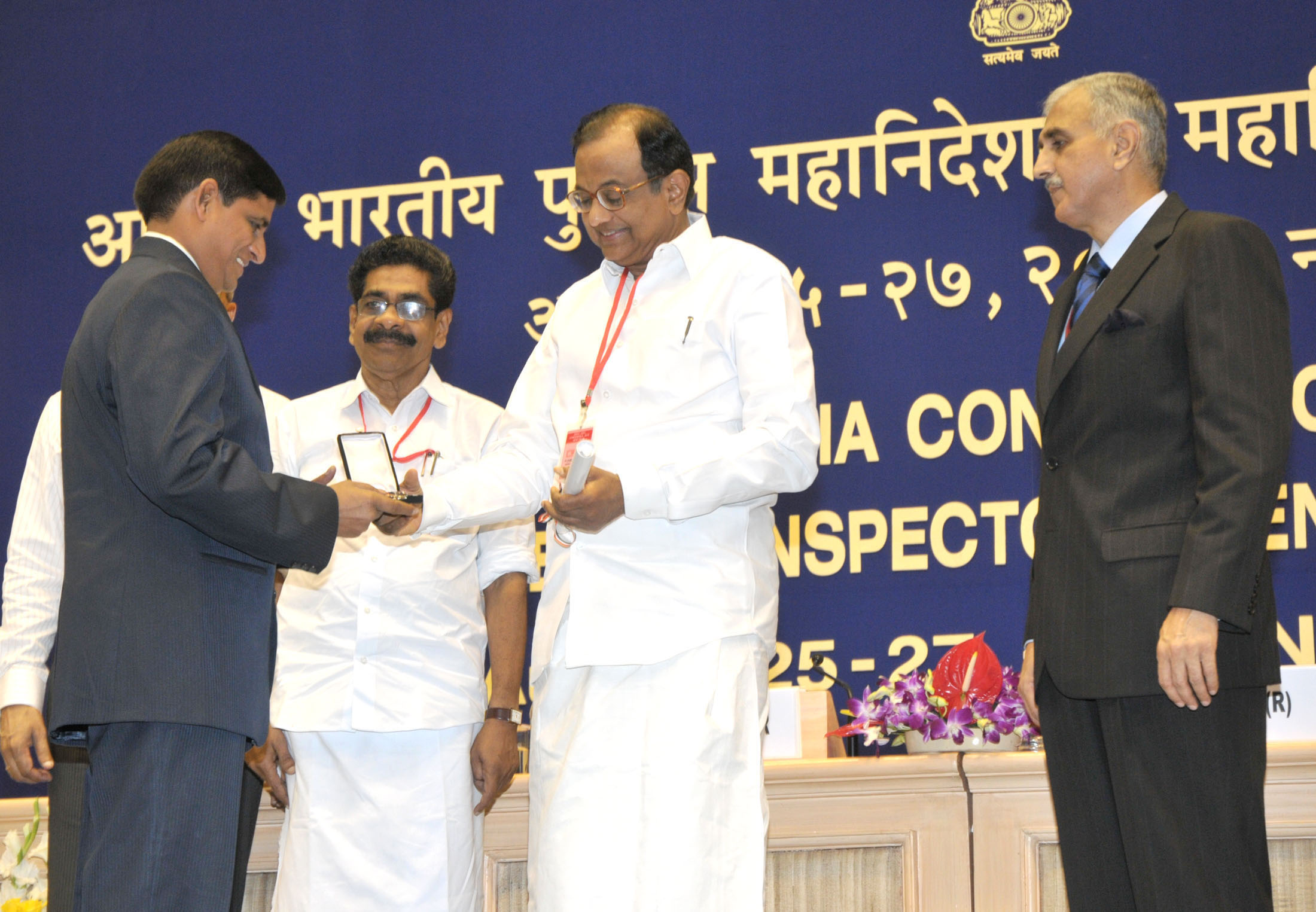File:P  Chidambaram presenting the Police Medal for Meritorious