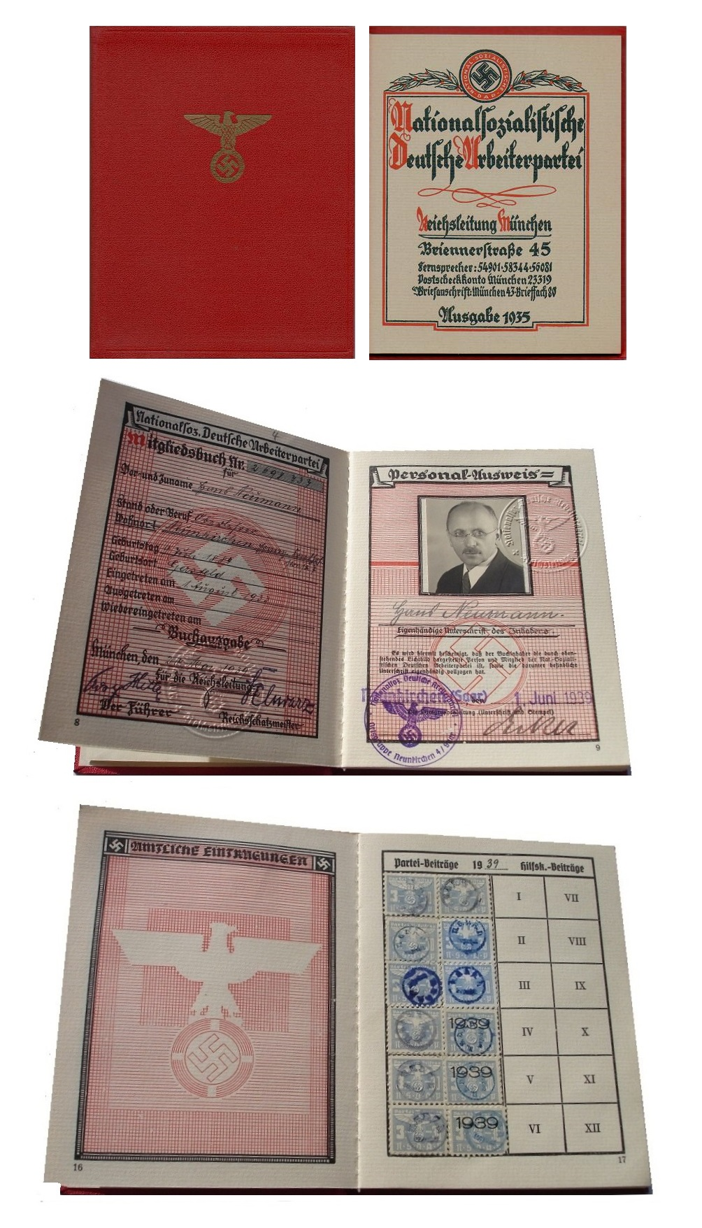 Parteibuch der NSDAP von 1939