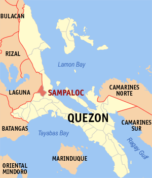 Map of Quezon showing the location of Sampaloc