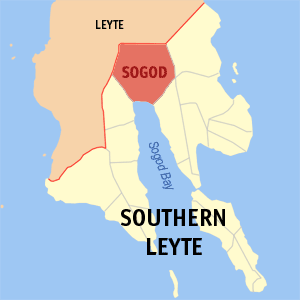 Map of Southern Leyte showing the location of Sogod