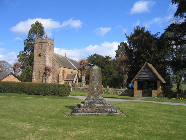 Priors Hardwick, Warwickshire: the War Memorial, with St Mary the Virgin parish church in the background