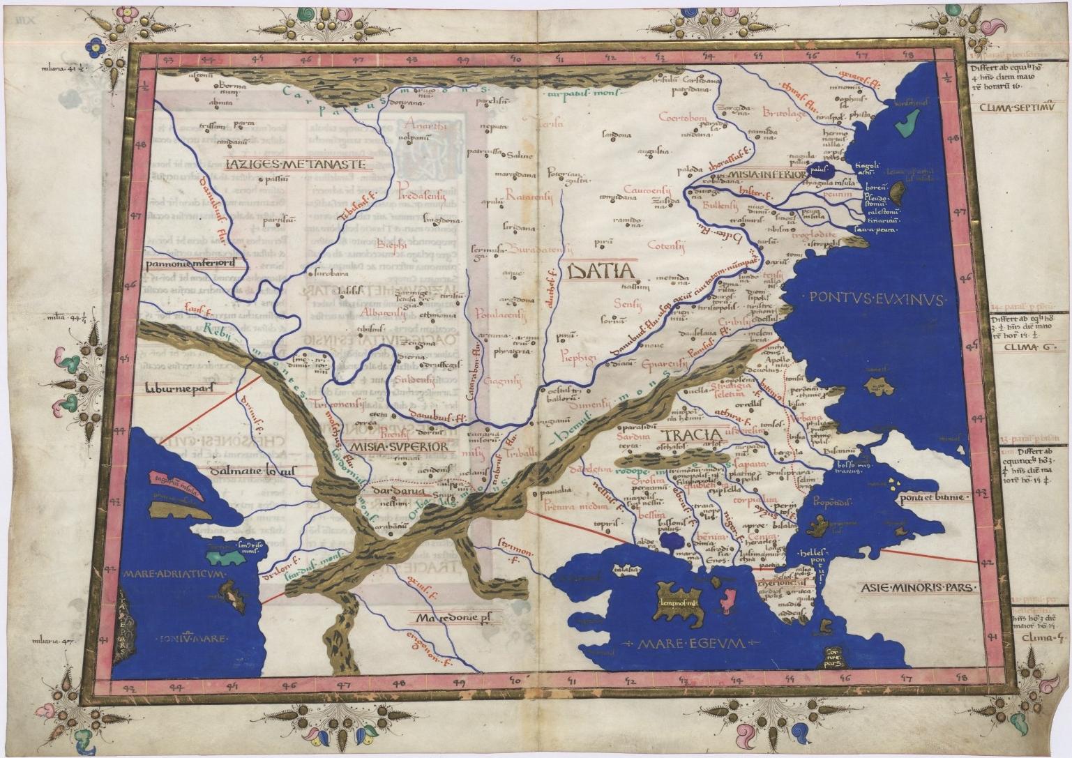 Ptolemy Cosmographia Balkan Peninsula