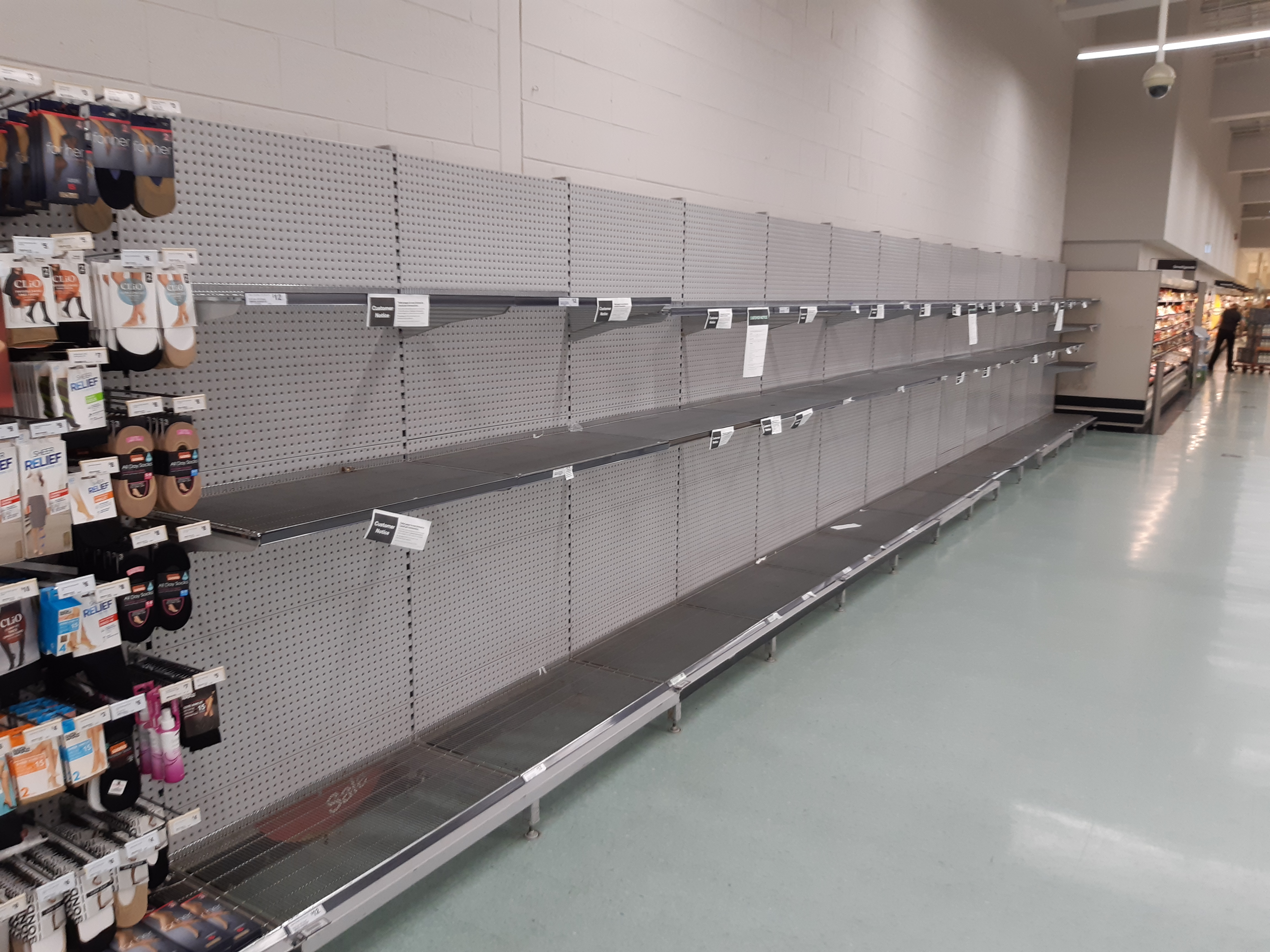 File:Rockingham City Shopping Centre empty shelves caused by the effects of the COVID-19 pandemic, March 2020.jpg