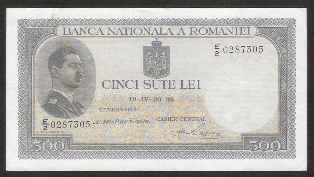 Fileromania 500 Lei Banknote Of 1936 King Carol Ii Of Romaniag
