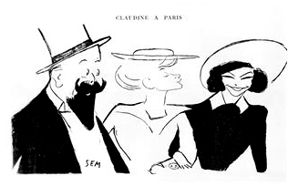 English: Caricature of Willy, Colette and Polaire