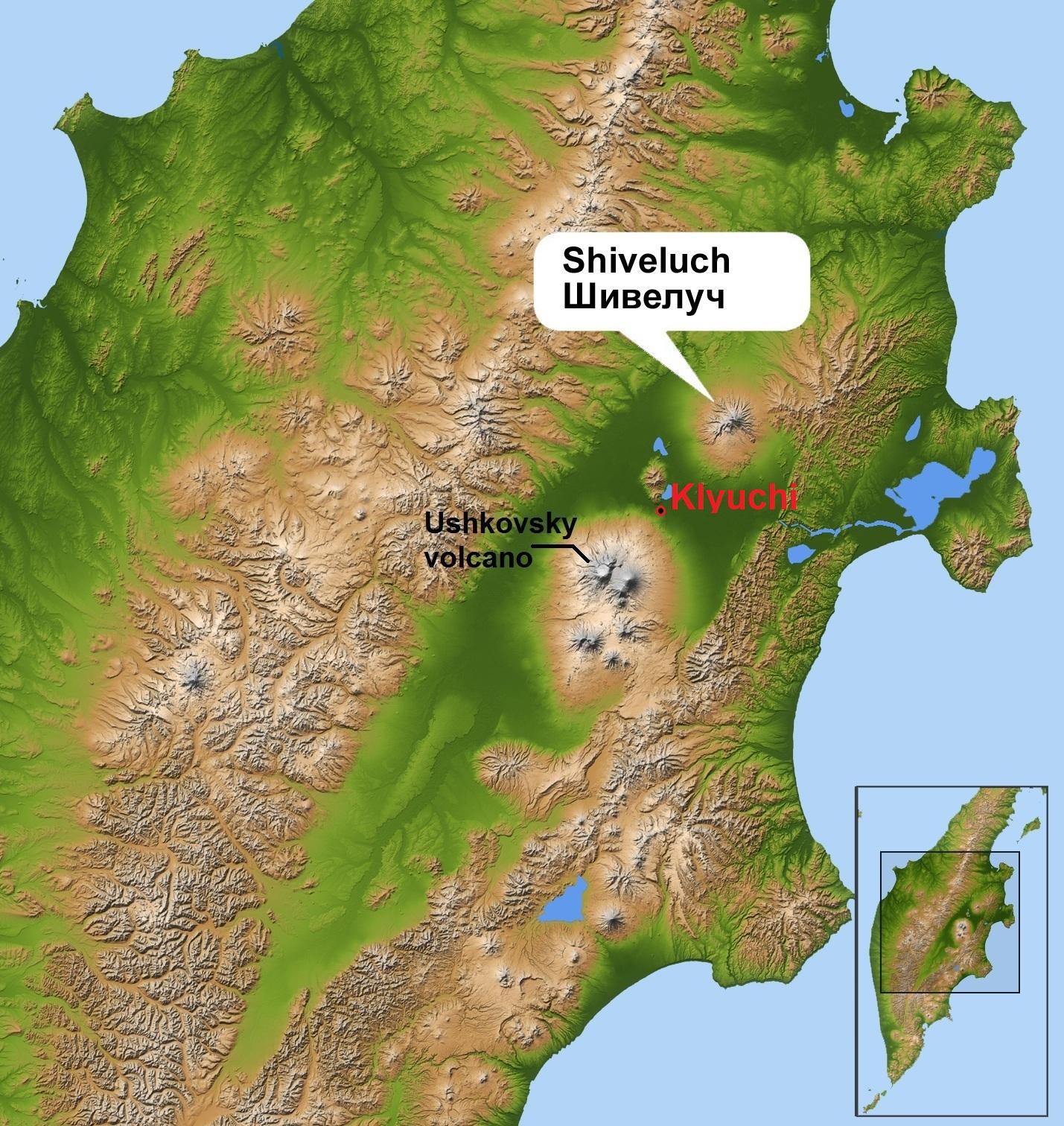 Kamchatka Peninsula On World Map.File Shiveluch Volcano And Klyuchi On Kamchatka Peninsula Jpg