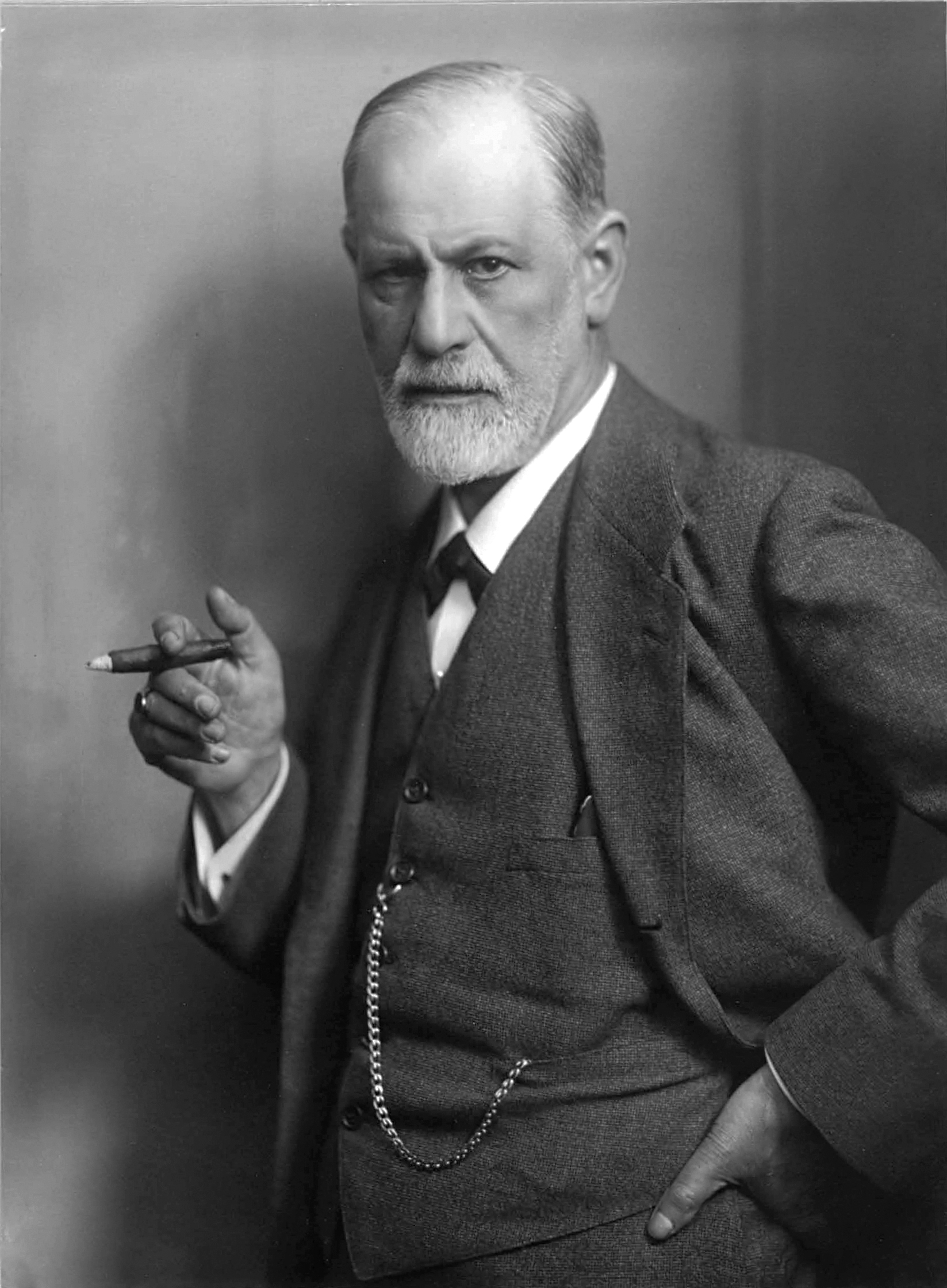 Sigmund Freud by Max Halberstadt, {{circa}} 1921<ref>{{cite web |last=Halberstadt |first=Max |url=https://www.loc.gov/item/98514770/ |title=Sigmund Freud, half-length portrait, facing left, holding cigar in right hand |date=c. 1921 |website=[[Library of Congress]] |accessdate=June 8, 2017 |deadurl=no |archiveurl=https://web.archive.org/web/20171228054049/https://www.loc.gov/item/98514770/ |archivedate=28 December 2017 |df=dmy-all }}</ref>