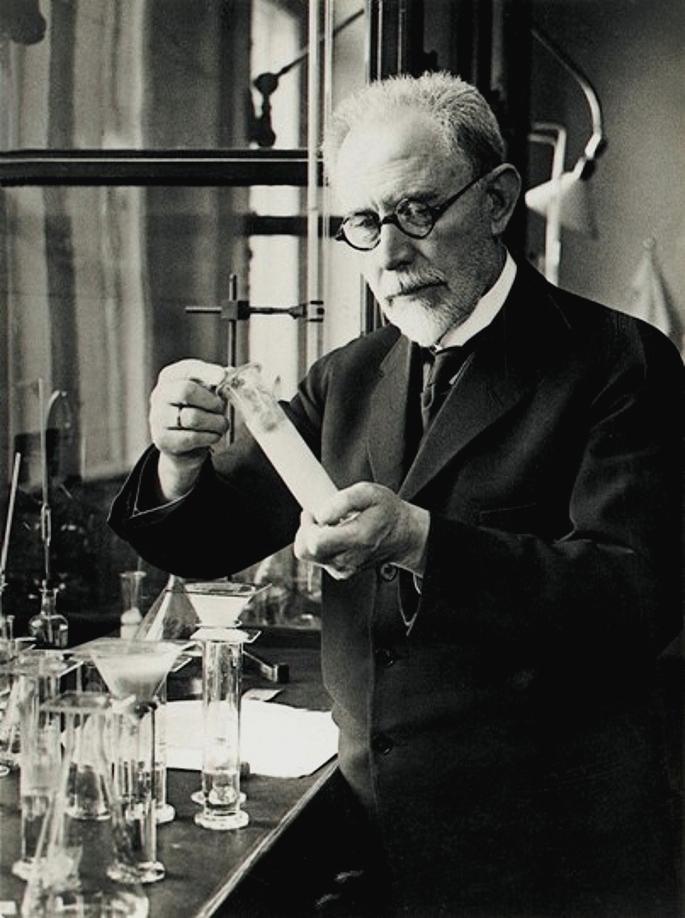 Søren Sørensen i Carlsbergslaboratoriernas avdelning för kemi, någon gång i början av 1900-talet.