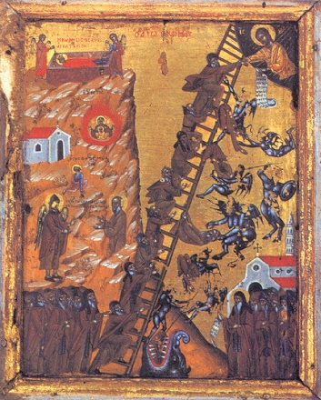 Icon of The Ladder of Divine Ascent (the steps toward theosis as described by John Climacus) showing monks ascending (and falling from) the ladder to Jesus StJohnClimacus.jpg