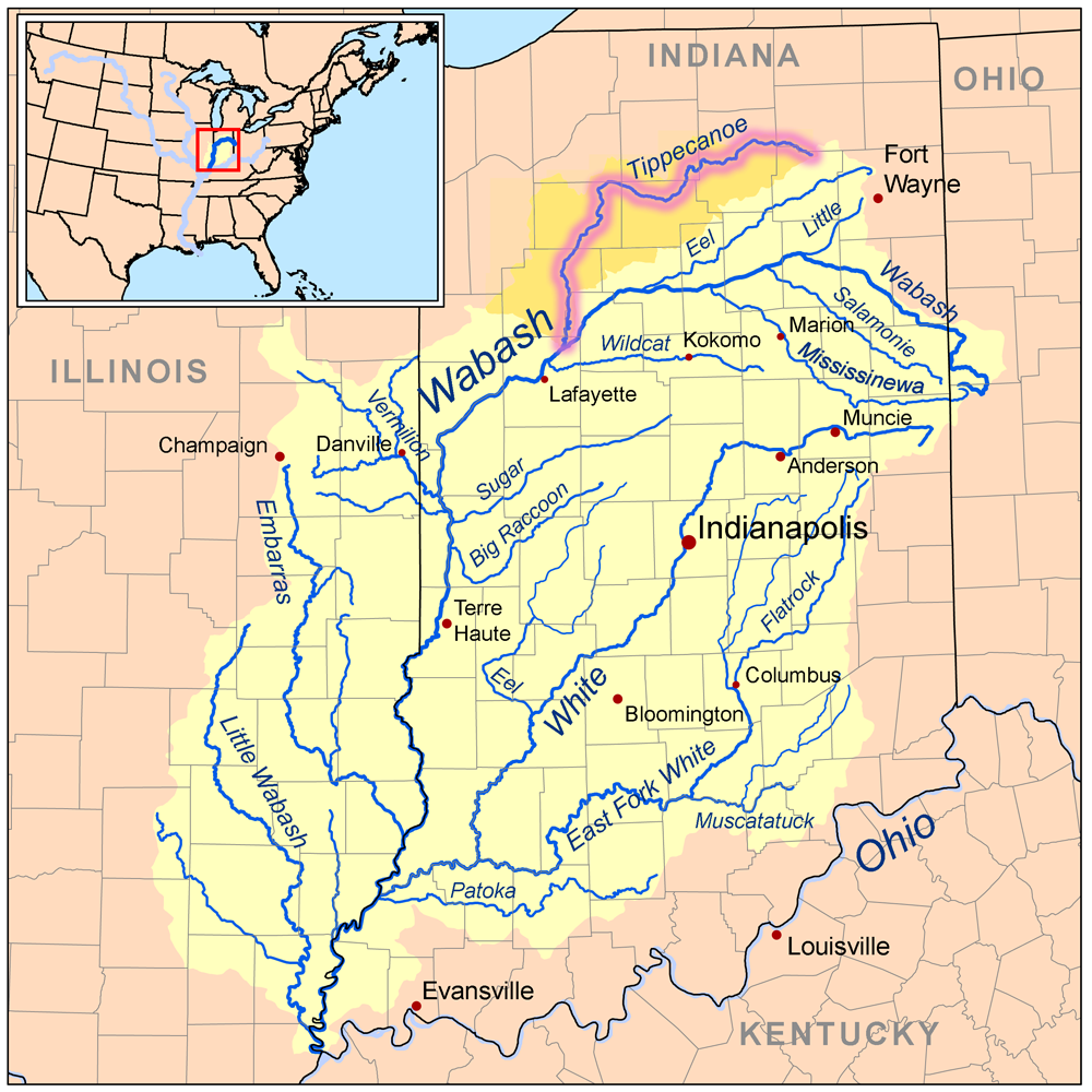 Tippecanoe River Wikipedia - Us map of lakes and rivers