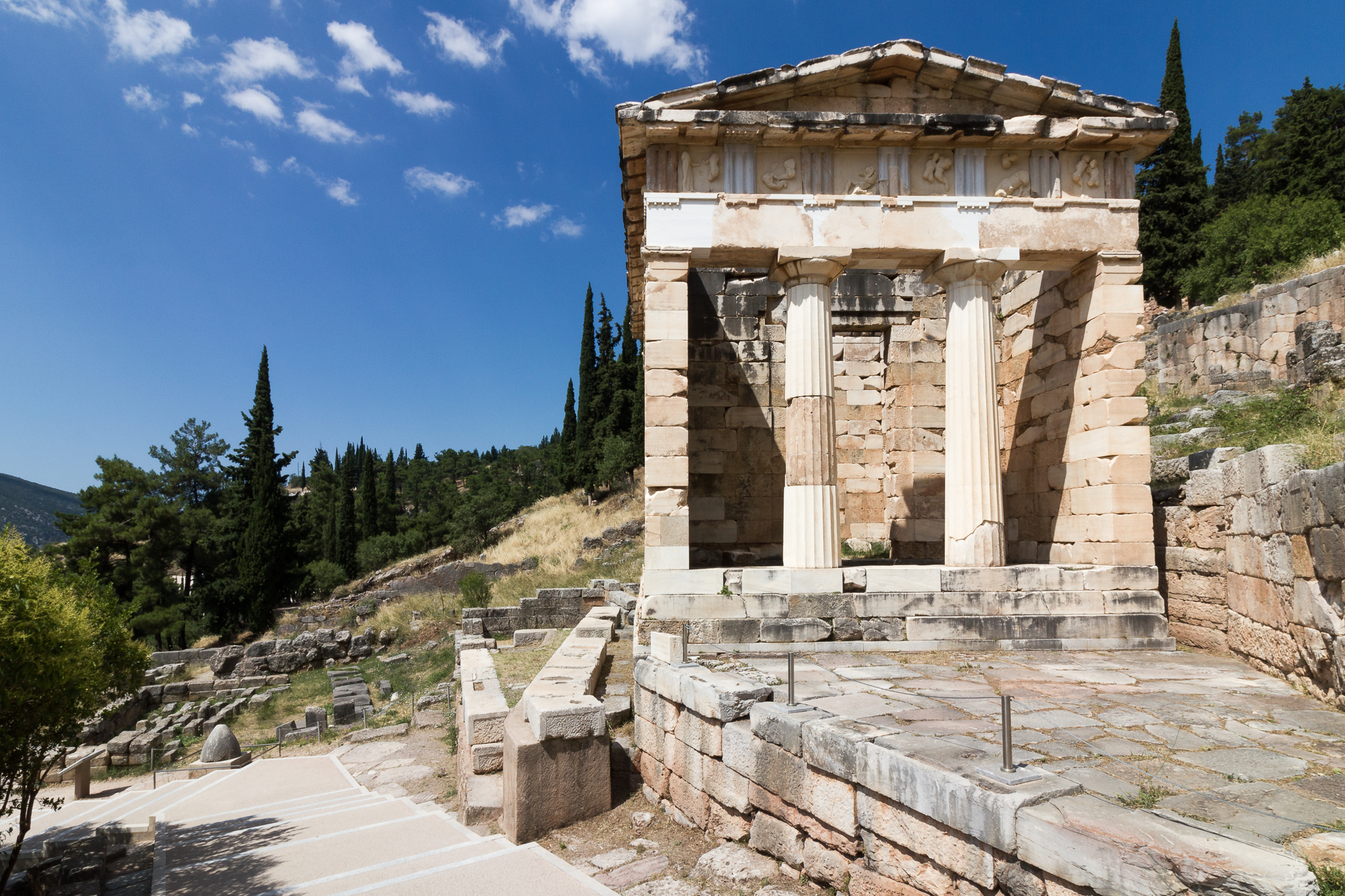 View of a well kept ruin in Delphi