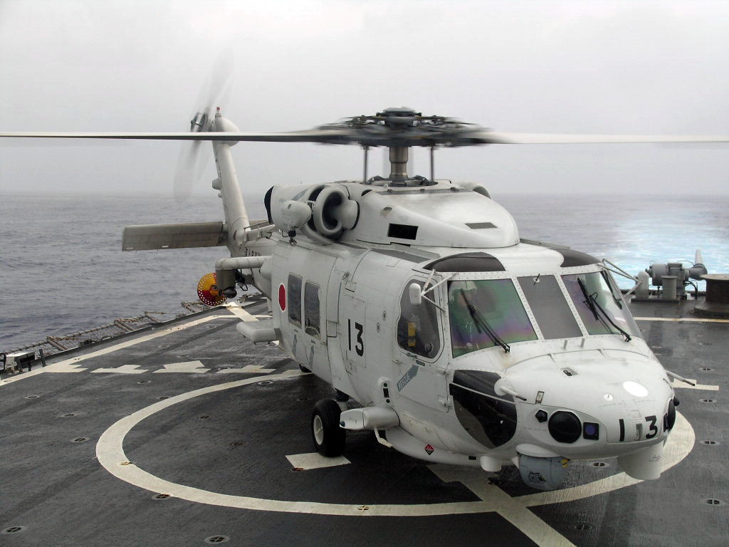 File:US Navy 061111-N-6621K-002 A Japanese Maritime Self-Defense Force SH-60J Seahawk helicopter sits on the flight deck of guided-missile destroyer USS Curtis Wilbur (DDG 54) after flying a U.S Navy liaison officer from