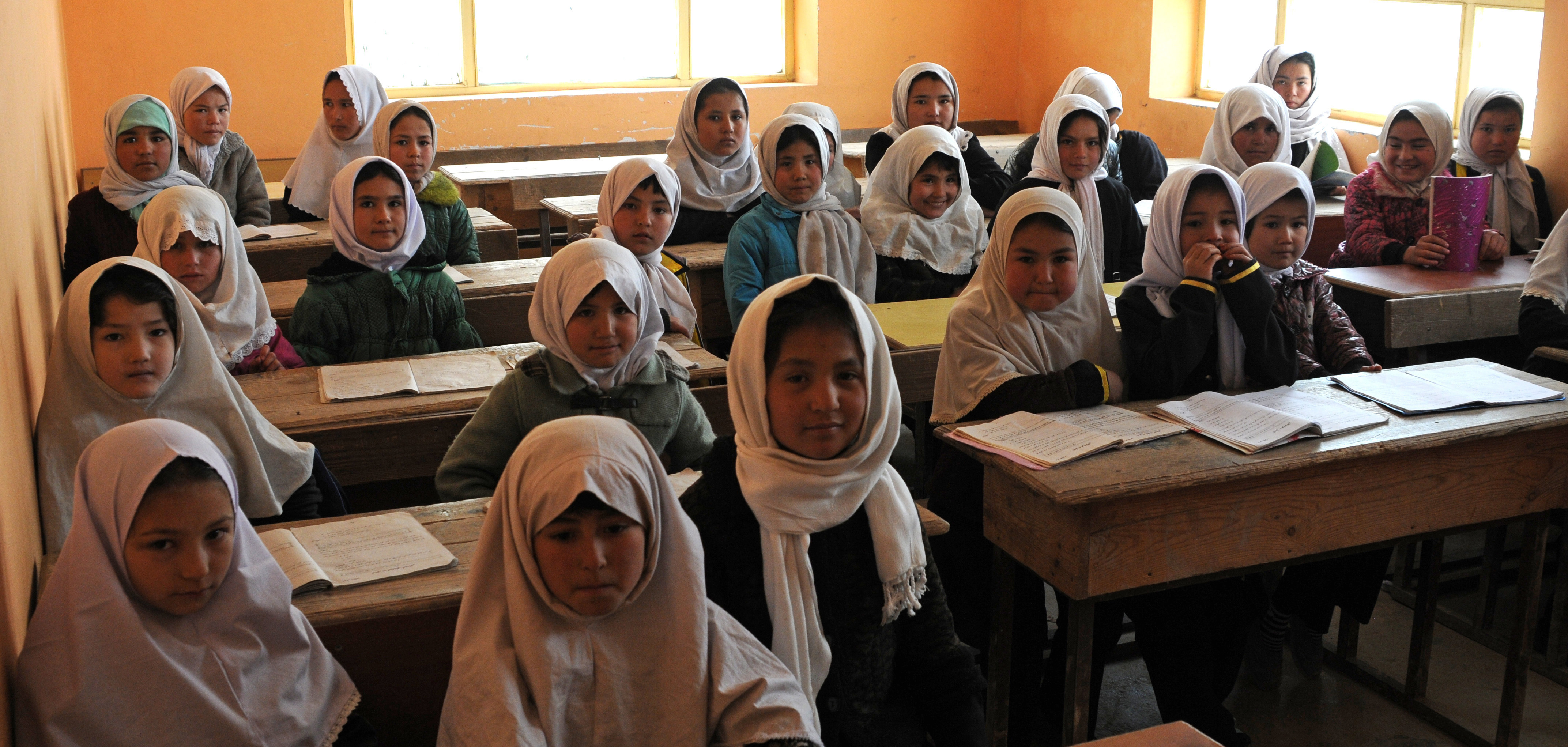 lassroom girls File:Young Afghan girls inside the classroom of Aliabad School-2012.jpg