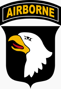 Embleem van de Amerikaanse 101e Luchtlandingsdivisie, the Screaming Eagles.