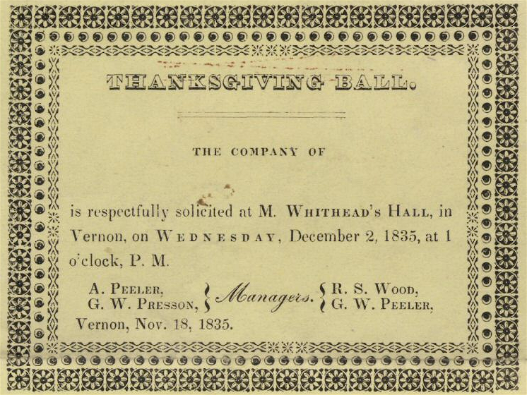 1835 Thanksgiving Ball Vernon Connecticut