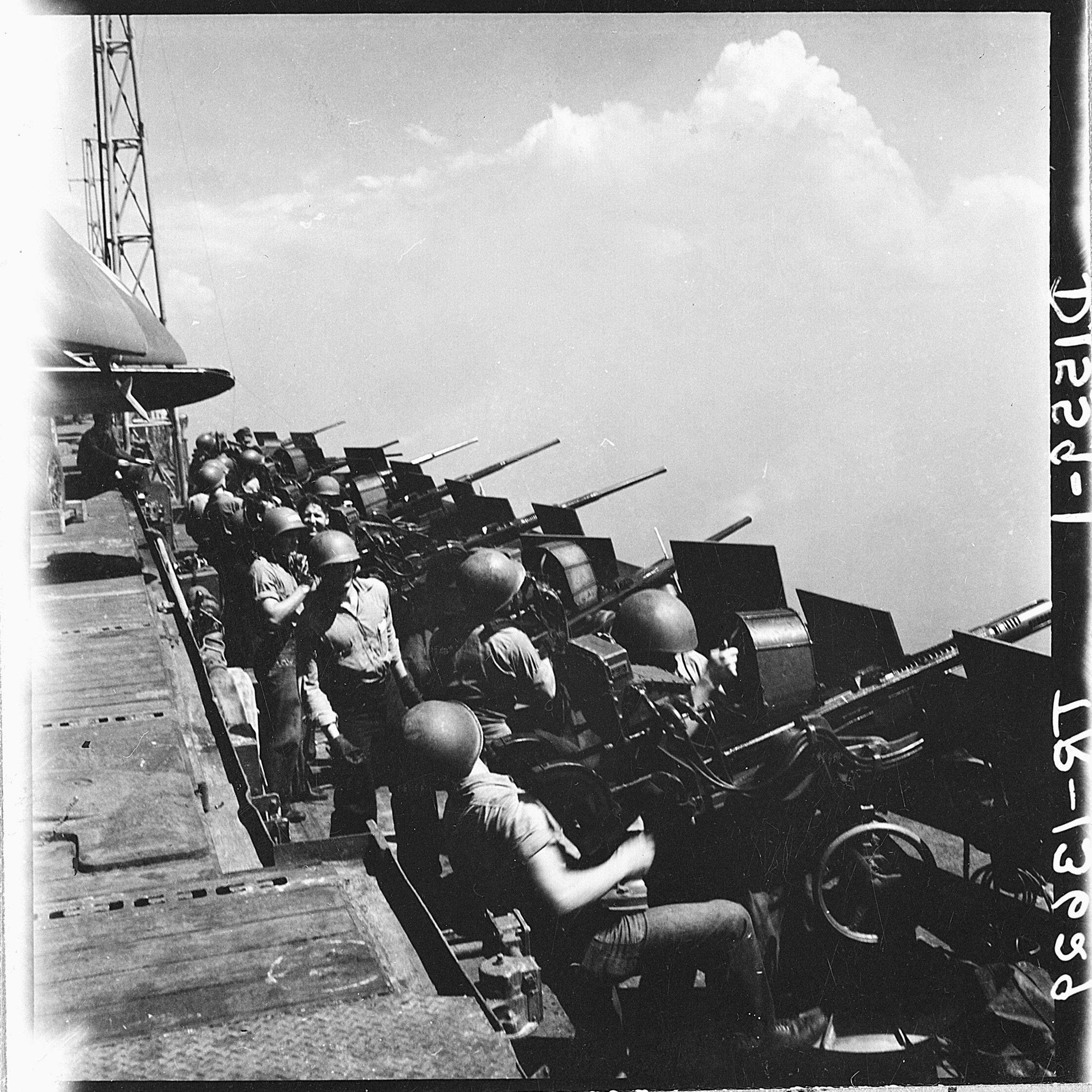 file 20mm gun crews standing by aboard the uss hornet  cv