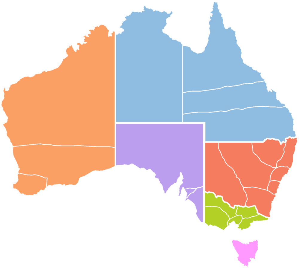 Australia map. The six provinces (shown in colour) and 23 dioceses of the Anglican Church of Australia