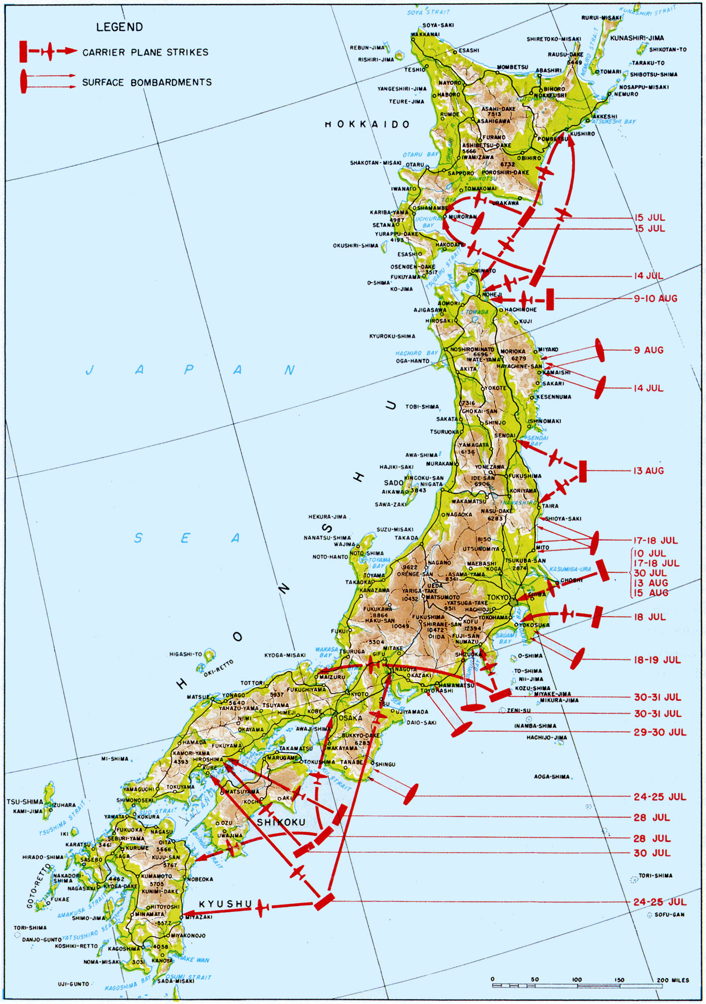 FileAllied Naval Operations Off Japan During July And August - Japan map labeled
