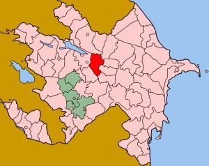 Map of Azerbaijan showing Agdas rayon