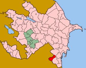 Map of Azerbaijan showing Yardimli rayon