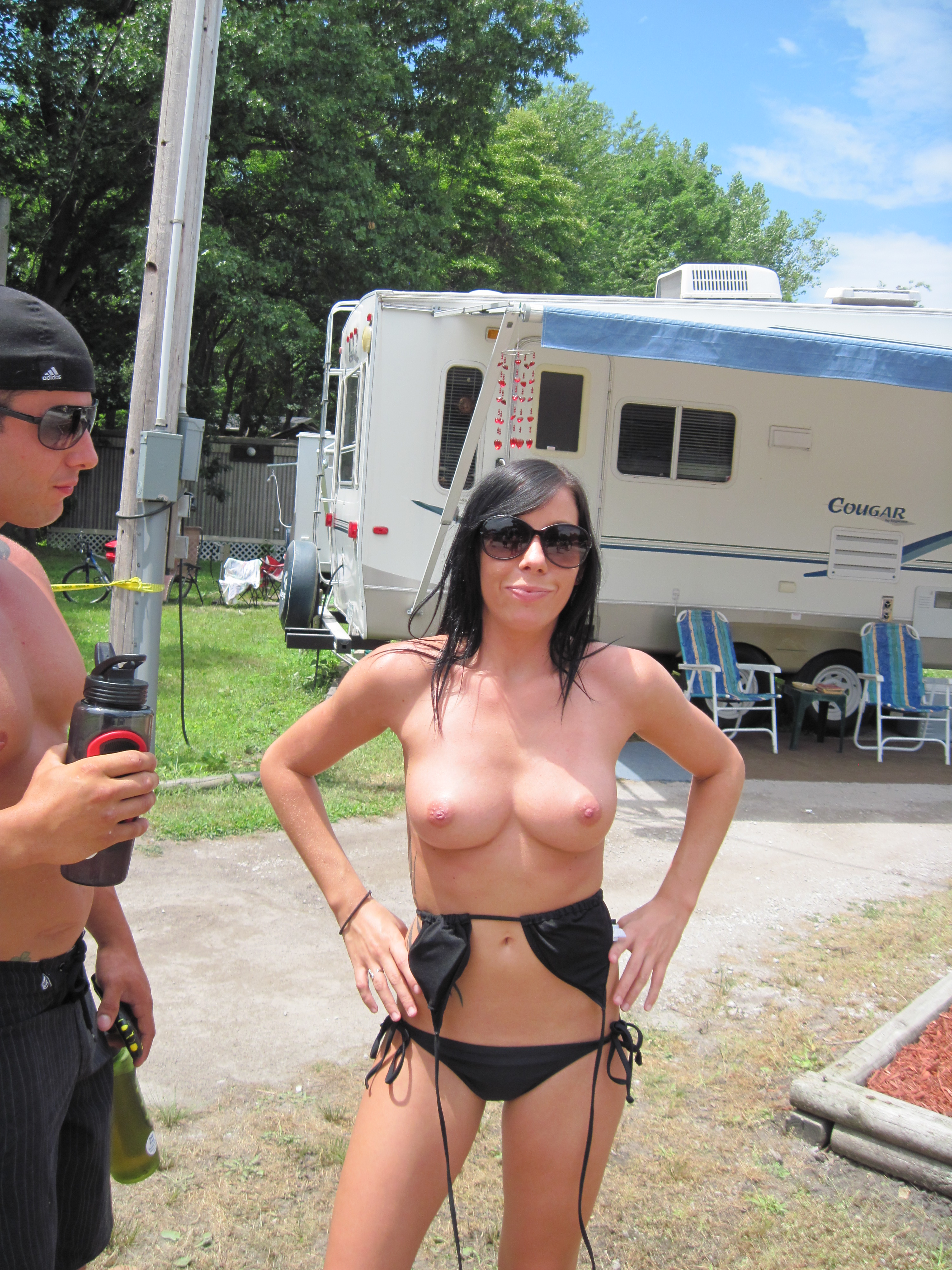 Wife topless public — pic 5