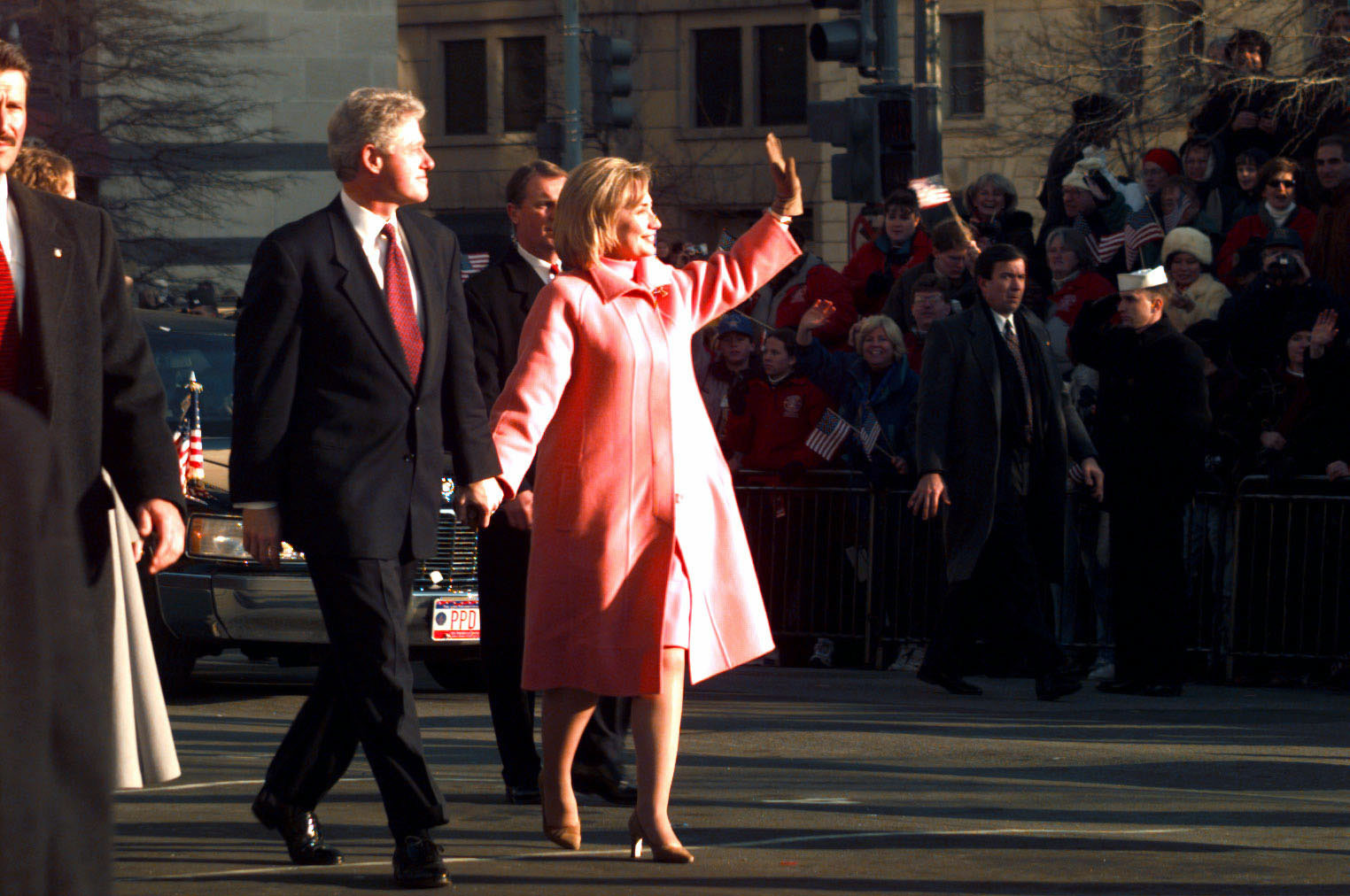 Bill and Hillary Clinton at 1997 inaugural parade 1.JPG