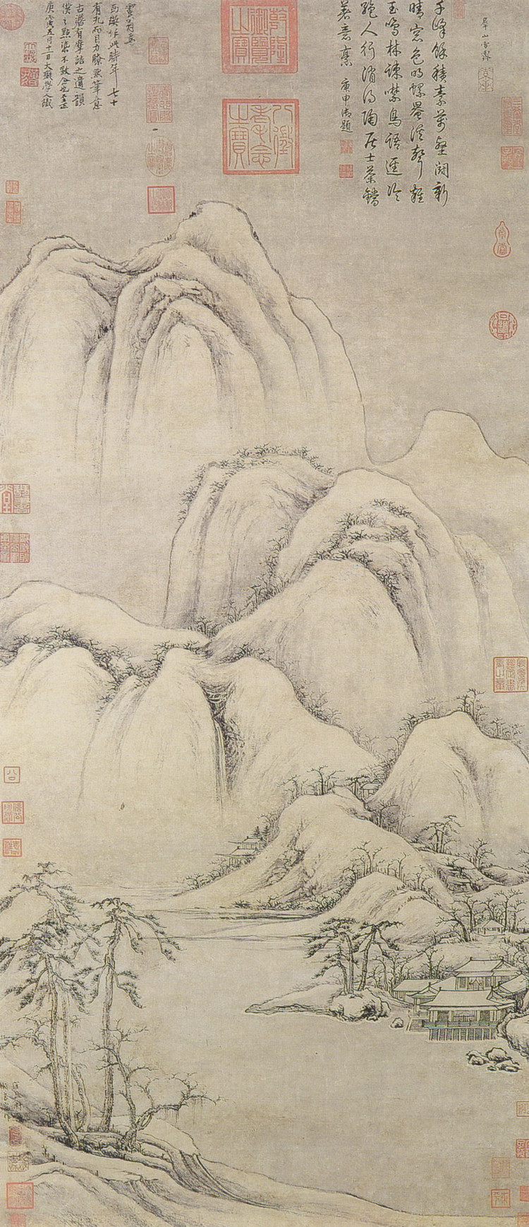 Cao Zhibai's painting - Clearing Snow on Mountain Peaks
