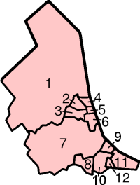 Map of the local government districts in North...