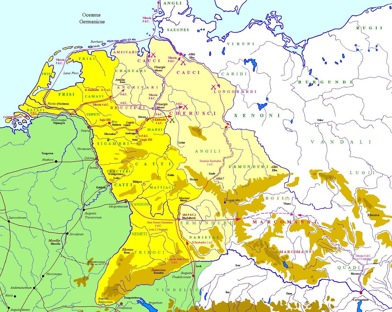 Battle Of The Teutoburg Forest Wikipedia - Ancient rome map battle sites