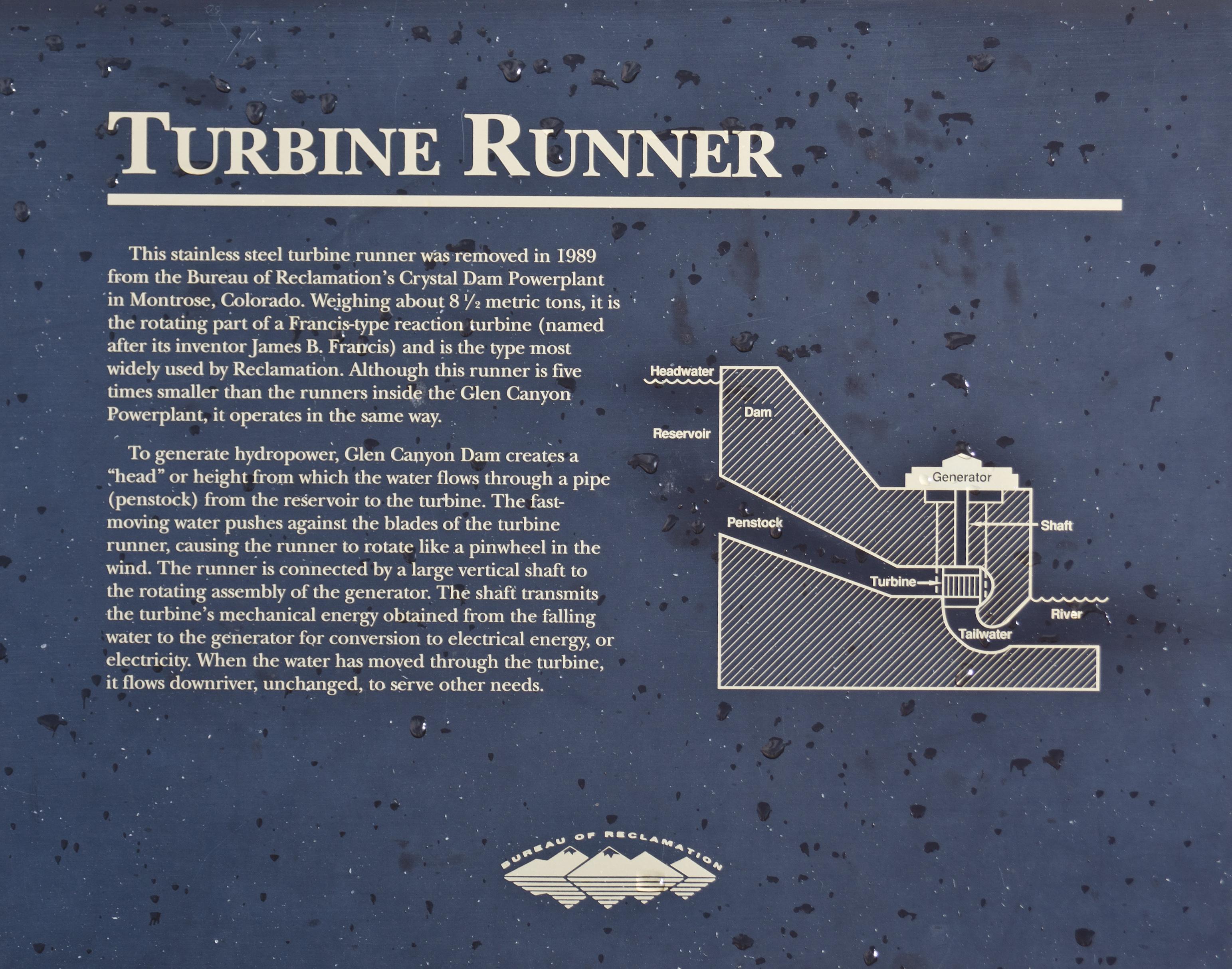 File Glen Canyon Dam turbine runner information board