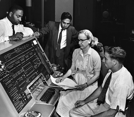 Grace Hopper operating the UNIVAC computer