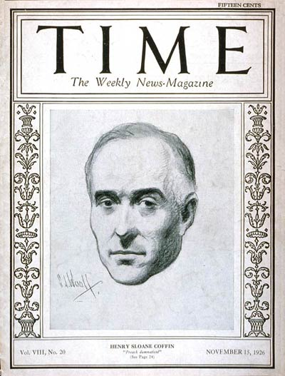 The Rev. Henry Sloane Coffin on the cover of Time magazine November 15, 1926